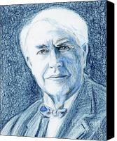 Leader Drawings Canvas Prints - Thomas Edison Canvas Print by Yoshiko Mishina
