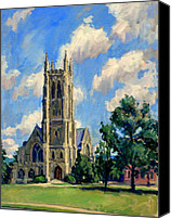 Abstract Realist Landscape Canvas Prints - Thompson Chapel Williams College Canvas Print by Thor Wickstrom