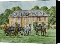 Manor Painting Canvas Prints - Thoroughbreds Grazing At Squerryes Court Canvas Print by Charlotte Blanchard