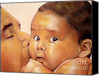 People Pastels Canvas Prints - Those Eyes Canvas Print by Curtis James