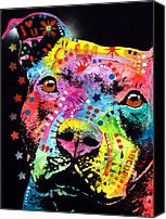 Dean Russo Mixed Media Canvas Prints - Thoughtful Pitbull i heart u Canvas Print by Dean Russo