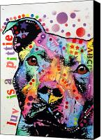 Dogs Painting Canvas Prints - Thoughtful Pitbull Luv Is A Pittie Canvas Print by Dean Russo