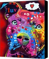 Dean Russo Mixed Media Canvas Prints - Thoughtful Pitbull thinks LUV Canvas Print by Dean Russo