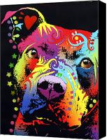 Animal Painting Canvas Prints - Thoughtful Pitbull Warrior Heart Canvas Print by Dean Russo