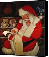 Santa Claus Canvas Prints - Thoughtful Santa Canvas Print by Doug Strickland