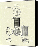 Bobbin Canvas Prints - Thread Spool 1877 Patent Art Canvas Print by Prior Art Design