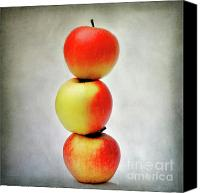 Red Apple Canvas Prints - Three apples Canvas Print by Bernard Jaubert