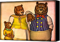 Fairytale Canvas Prints - Three Bears Family Portrait Canvas Print by Bob Orsillo