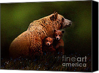 Kodiak Digital Art Canvas Prints - Three Bears Canvas Print by Robert Foster