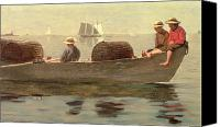 Carefree Canvas Prints - Three Boys in a Dory Canvas Print by Winslow Homer