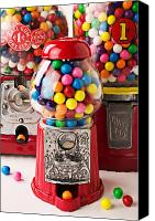 Vendor Canvas Prints - Three bubble gum machines Canvas Print by Garry Gay