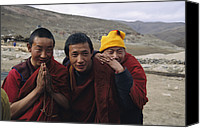 Gesturing Canvas Prints - Three Buddhist Lamas In Gansu Province Canvas Print by David Edwards