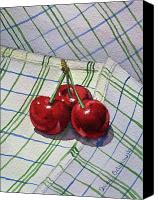 Berry Canvas Prints - Three Cherries Canvas Print by Irina Sztukowski