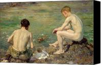 Bathe Canvas Prints - Three Companions Canvas Print by Henry Scott Tuke