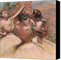 Girls Pastels Canvas Prints - Three Dancers Canvas Print by Edgar Degas