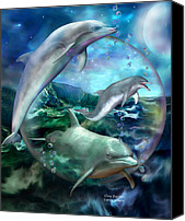 The Art Of Carol Cavalaris Canvas Prints - Three Dolphins Canvas Print by Carol Cavalaris