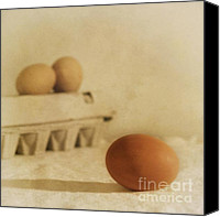 Beige Canvas Prints - Three Eggs And A Egg Box Canvas Print by Priska Wettstein