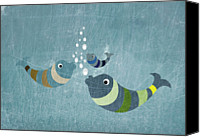 Textured Canvas Prints - Three Fish In Water Canvas Print by Jutta Kuss