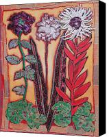 Diane Fine Canvas Prints - Three Flowers Canvas Print by Diane Fine