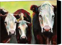 Cow Drawings Canvas Prints - Three Generations of Moo Canvas Print by Frances Marino