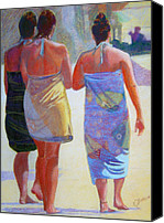 Scenic Pastels Canvas Prints - Three Girls on the Beach Canvas Print by Katherine  Berlin