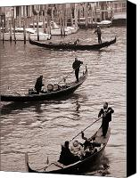 Gondoliers Canvas Prints - Three Gondolas Canvas Print by L S Keely