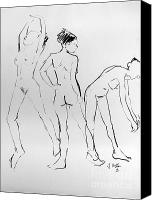 Life Drawing Drawings Canvas Prints - Three hail Marys Canvas Print by Joanne Claxton
