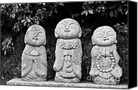 Japanese Canvas Prints - Three Happy Buddhas Canvas Print by Dean Harte