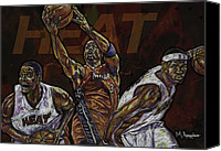 Basketball Canvas Prints - Three Headed Monster Canvas Print by Maria Arango