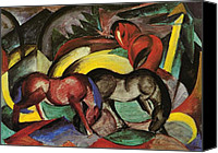 Abstract Equine Canvas Prints - Three Horses Canvas Print by Franz Marc