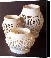 White Ceramics Canvas Prints - Three Interlaced Design Wheel Thrown Pots Canvas Print by Carolyn Coffey Wallace