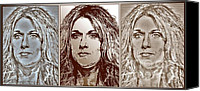 Famous Mixed Media Canvas Prints - Three Interpretations of Celine Dion Canvas Print by J McCombie