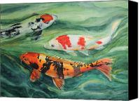 Koi Art Canvas Prints - Three Koi Canvas Print by Patricia Allingham Carlson