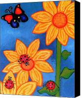 Flower Prints Greeting Cards Canvas Prints - Three Ladybugs and Butterfly Canvas Print by Genevieve Esson