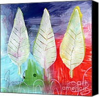 Bold Canvas Prints - Three Leaves Of Good Canvas Print by Linda Woods
