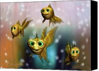 Cartoon Canvas Prints - Three Little Fishies And A Mama Fishie Too Canvas Print by Bob Orsillo