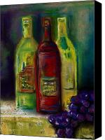 Wine Drawings Canvas Prints - Three More Bottles of Wine Canvas Print by Frances Marino