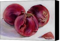 Food Painting Canvas Prints - Three More Onions Canvas Print by Sarah Lynch