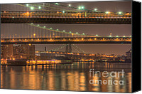 South Street Seaport Canvas Prints - Three New York Bridges Canvas Print by Clarence Holmes