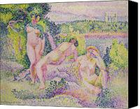 Undressing Canvas Prints - Three Nudes Canvas Print by Henri Edmond Cross