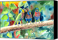 Parrots Canvas Prints - Three on a Branch Canvas Print by Arline Wagner