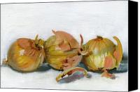 Food Canvas Prints - Three Onions Canvas Print by Sarah Lynch