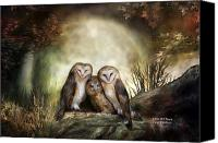 Animal Art Print Mixed Media Canvas Prints - Three Owl Moon Canvas Print by Carol Cavalaris