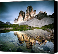 Mountain Scene Canvas Prints - Three Peaks Reflection In Lake Canvas Print by Matteo Colombo