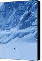Denali Canvas Prints - Three People Skiing Up The Kahiltna Canvas Print by Bill Hatcher