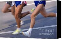 Jogging Canvas Prints - Three runners Canvas Print by Sami Sarkis