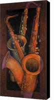 Music Canvas Prints - Three Sax Canvas Print by Susanne Clark