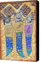 Greeting Cards Tapestries - Textiles Canvas Prints - Three Sisters Canvas Print by Jude Ongley-Mowris