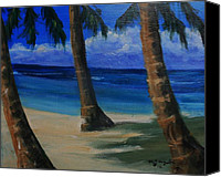 Rafael Gonzales Canvas Prints - Three Trees On The Beach Canvas Print by Rafael Gonzales
