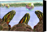 Turtle Canvas Prints - Three Turtles Three Bubbles Canvas Print by Catherine G McElroy